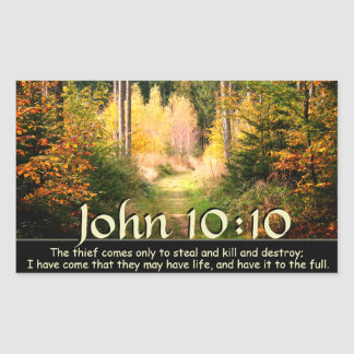 Sticker Rectangulaire Vers de inspiration John 10 de bible chemin de 10