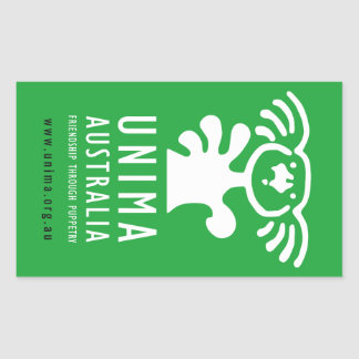 Sticker Rectangulaire VERT d'autocollant d'UNIMA Australie (feuille de