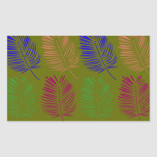 Sticker Rectangulaire Vert de feuille d'ethno de conception bio