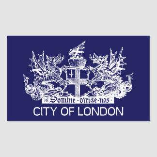 Sticker Rectangulaire Ville de Londres, cru, manteau des bras,
