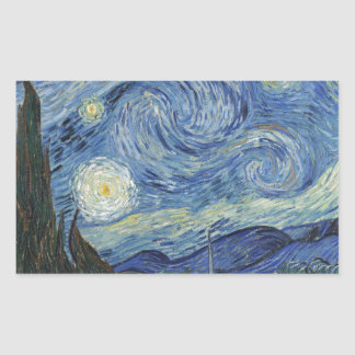 Sticker Rectangulaire Vincent van Gogh | la nuit étoilée, juin 1889