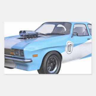 Sticker Rectangulaire voiture de muscle des années 70 dans bleu et blanc