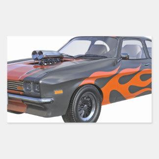 Sticker Rectangulaire voiture de muscle des années 70 dans les flammes