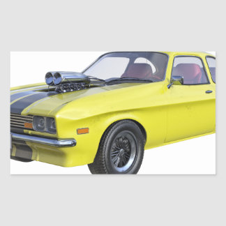 Sticker Rectangulaire voiture de muscle des années 70 en jaune et noir