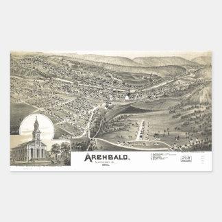 Sticker Rectangulaire Vue aérienne d'Archbald, Pennsylvanie (1892)