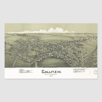 Sticker Rectangulaire Vue aérienne de Gallitzin, Pennsylvanie (1901)