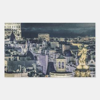 Sticker Rectangulaire Vue aérienne de scène de nuit de paysage urbain de