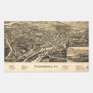 Sticker Rectangulaire Vue aérienne de Ticonderoga, New York (1891)