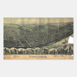 Sticker Rectangulaire Vue aérienne de Toronto, Ohio (1899)