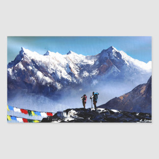 Sticker Rectangulaire Vue panoramique de montagne maximale d'Ama Dablam