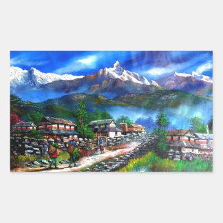 Sticker Rectangulaire Vue panoramique de montagne Népal d'Everest