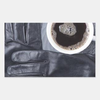Sticker Rectangulaire Vue supérieure d'une tasse blanche de café et de