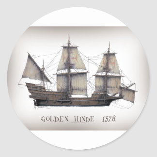 Sticker Rond 1578 Hinde d'or