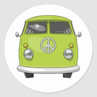 Sticker Rond 1960 Van hippies