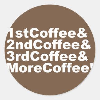 Sticker Rond 1stCoffee&2ndCoffee&3rdCoffee&MoreCoffee ! (blanc)