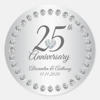 Sticker Rond 25ème argent de diamants d'anniversaire de mariage