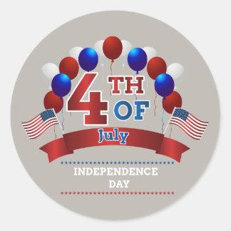 Sticker Rond 4 juillet drapeaux et ballons
