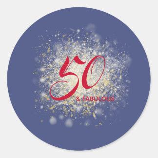 Sticker Rond 50 et anniversaire de parties scintillantes