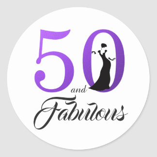 Sticker Rond 50 et anniversaire de typographie fabuleuse du