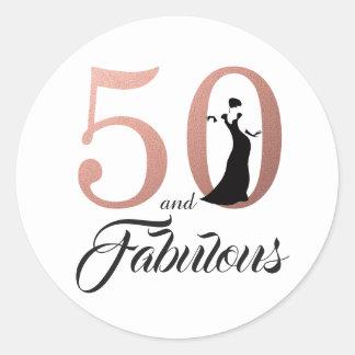 Sticker Rond 50 et anniversaire de typographie rose fabuleuse