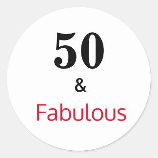 Sticker Rond 50 et cinquantième anniversaire fabuleux