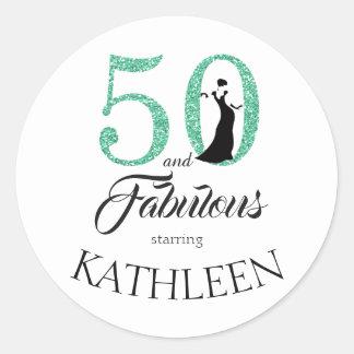 Sticker Rond 50 et nom vert fabuleux de coutume de parties