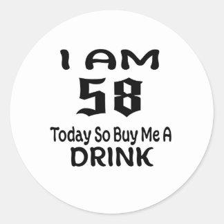 Sticker Rond 58 achetez-aujourd'hui ainsi moi une boisson