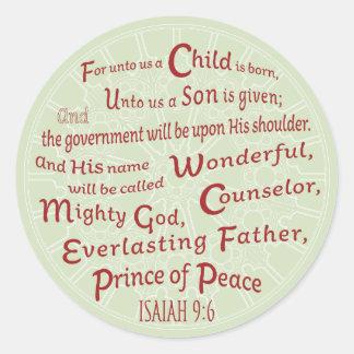 Sticker Rond 9:6 d'Isaïe dans des couleurs de Noël