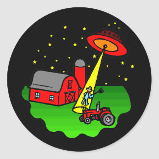 Sticker Rond Abduction d'alien d'agriculteur