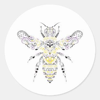 Sticker Rond abeille fleurie de miel