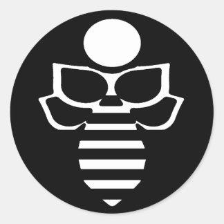 Sticker Rond Abeille noire et blanche - ronde