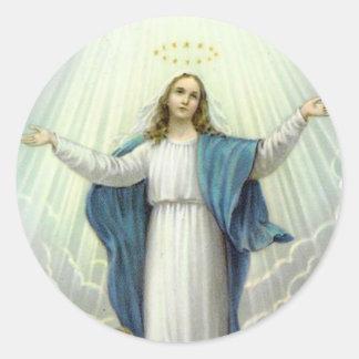 Sticker Rond Acceptation de Vierge Marie béni