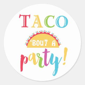 Sticker Rond Accès de taco d'anniversaire de fiesta