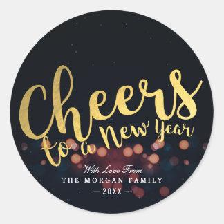 Sticker Rond Acclamations de Noël de noir et d'or à une