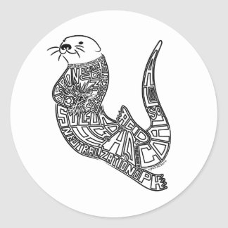 Sticker Rond Acidification de loutre et d'océan de mer