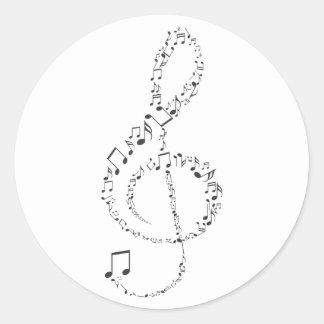 Sticker Rond Adhésive Clef du Soleil Musical