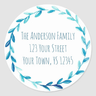 Sticker Rond Adresse bleue de guirlande