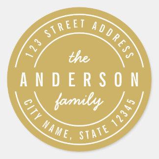 Sticker Rond Adresse de retour de famille audacieuse moderne