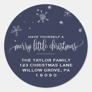 Sticker Rond Adresse de retour de Noël de flocon de neige de
