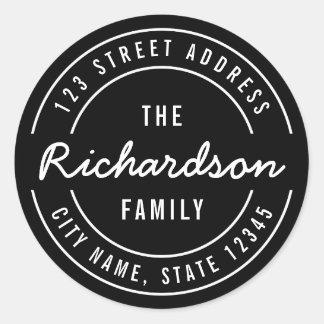 Sticker Rond Adresse de retour de nom de famille moderne