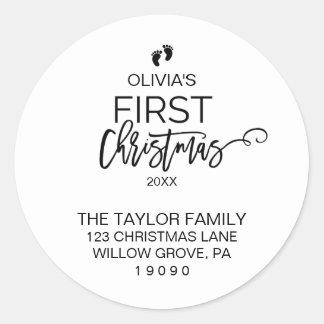 Sticker Rond Adresse de retour de premier Noël du bébé
