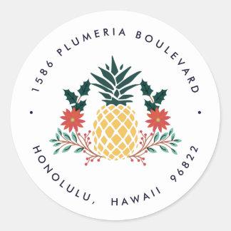 Sticker Rond Adresse de retour de vacances de l'ananas | de