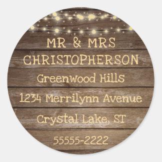 Sticker Rond Adresse de retour rustique de lumières en bois et