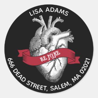 Sticker Rond Adresse gothique de Saint-Valentin de coeur