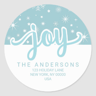 Sticker Rond Adresse manuscrite bleue et blanche de joie de