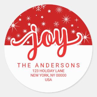 Sticker Rond Adresse manuscrite rouge et blanche de joie de