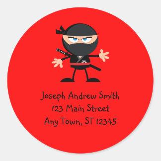 Sticker Rond Adresse mignonne de guerrier de Ninja
