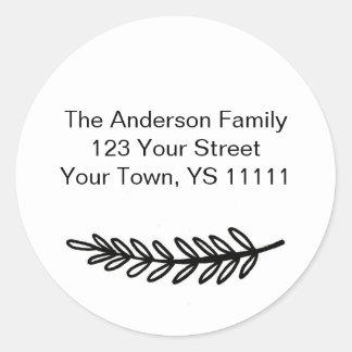 Sticker Rond Adresse noire simple de White Pine
