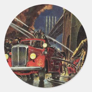 Sticker Rond Affaires vintages, sapeurs-pompiers de pompiers de