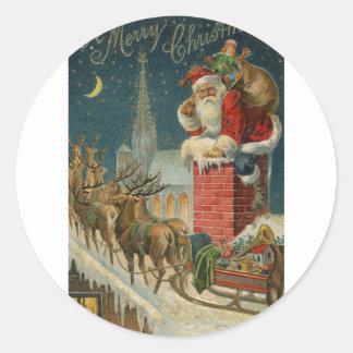 Sticker Rond Affiche 1906 clous de Père Noël de cru original